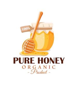 Vaso di vetro con miele, cucchiaio con gocce di miele isolato su sfondo bianco. etichetta di miele, logo, concetto di emblema.