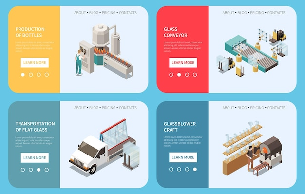 Set per la produzione di vetro di quattro banner orizzontali con pulsanti cliccabili testo modificabile e immagini delle strutture