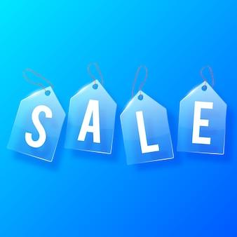 Concetto di design di vetro vendita tag con lettere bianche sull'azzurro
