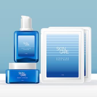 Set di confezioni di pacchetti di bottiglie di siero di vetro, vasetti per la crema per il viso e maschera in fogli con design blu sfumato oceano estivo