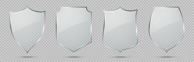 Scudo di vetro. segnale di difesa, simbolo di protezione della privacy, badge di sicurezza, elemento di sicurezza in vetro decorativo, lastre trasparenti con riflessi