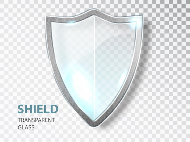 Segno di scudo di vetro. etichetta in vetro di sicurezza. scudo banner trasparente per la privacy. segno di salvaguardia della difesa.