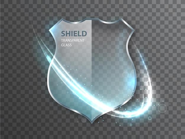 Segno di scudo di vetro su sfondo transterente. icona di protezione badge di sicurezza. segno di salvaguardia della difesa.