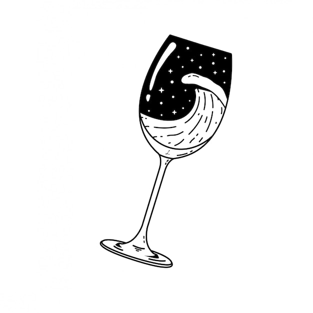 Distintivo di monoline vintage glass of space nature logo