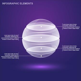 Modello di infografica sfera di vetro,