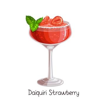 Bicchiere di cocktail daiquiri alla fragola con fragole e foglie di menta su bianco. illustrazione di colore bevanda alcolica estiva.