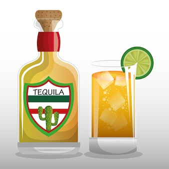 Vetro e tequila design bevanda messicana