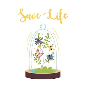 Terrario in vetro con farfalle e scritta salva una vita