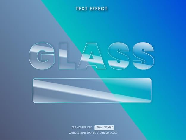 Vettore effetto testo in vetro tema trasparente effetto testo modificabile