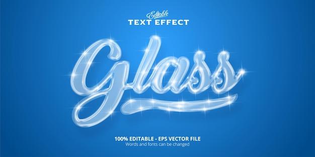 Testo di vetro realistico effetto di testo modificabile