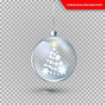 Decorazione natalizia in vetro trasparente
