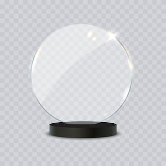 Illustrazione realistica 3d del premio del trofeo di vetro su fondo trasparente