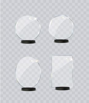 Segno di premio trofeo di vetro impostato su sfondo trasparente