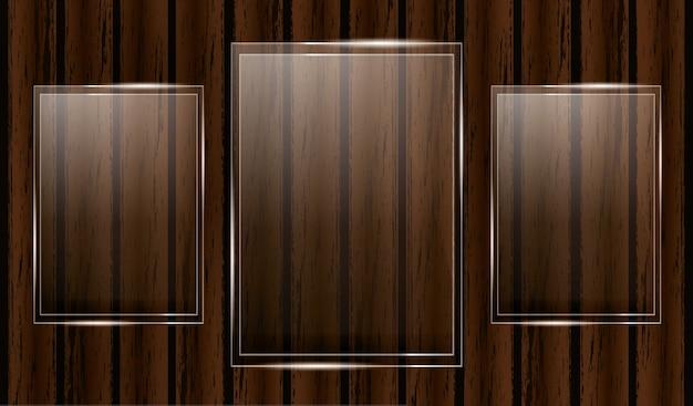 Premio trofeo di vetro su fondo in legno. illustrazione.