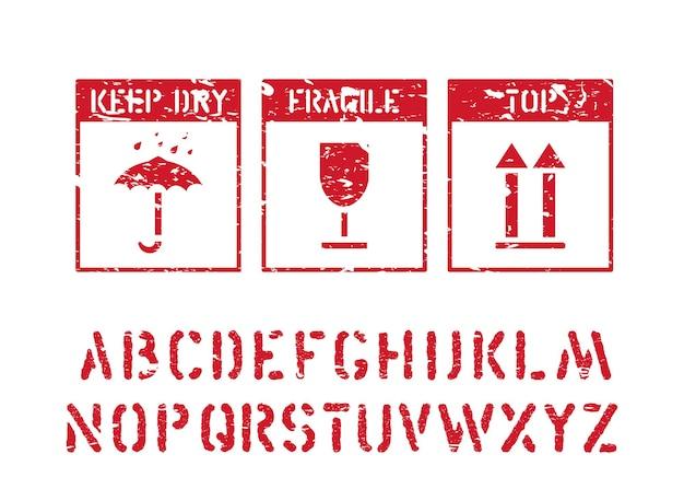 Vetro, ombrello, icone nere standard della freccia isolate. segni della scatola di gomma del grunge di vettore e alfabeto del carico per logistica, carico.