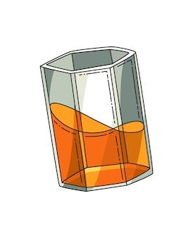 Bicchiere di whisky. vetro di vettore realistico con whisky scozzese affumicato isolato su priorità bassa bianca. bicchiere e bevanda.