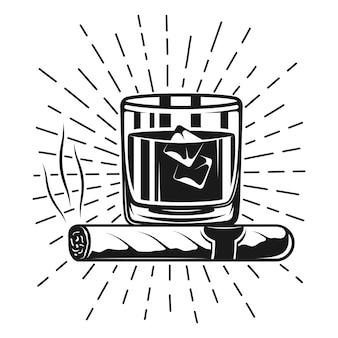 Bicchiere di whisky con cubetti di ghiaccio, sigaro fumante e raggi illustrazione monocromatica