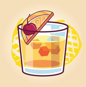 Bicchiere di whisky con ghiaccio isolato