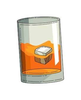 Bicchiere di whisky con ghiaccio. vetro di vettore realistico con whisky scozzese affumicato isolato su priorità bassa bianca. bicchiere e bevanda