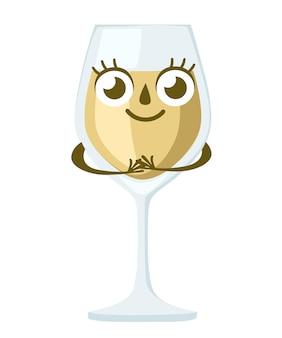 Bicchiere di vino bianco, carattere. mascotte di alcol. vetro trasparente. illustrazione su sfondo bianco.