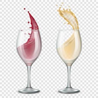 Bicchiere di vino. le bevande alcoliche spruzzano gocce rosse e bianche che scorrono
