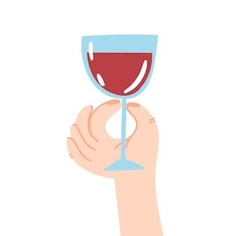 Bicchiere di vino in mano scarabocchio tiene in mano un bicchiere di bevanda alcolica di vino rosso in un bicchiere