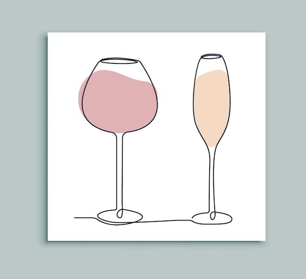 Bicchiere di vino una linea d'arte Vettore Premium