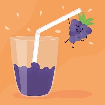Bicchiere con succo d'uva frutta fresca carattere kawaii Vettore Premium