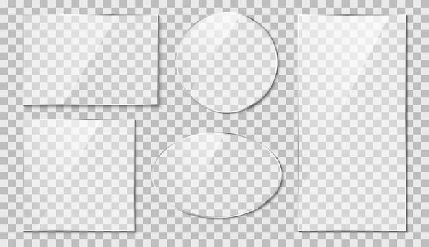Vetro con effetto riflesso. specchio su trasparente. illustrazione