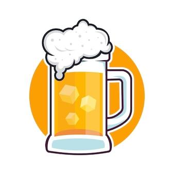 Bicchieri birra distintivo grano illustrazioni