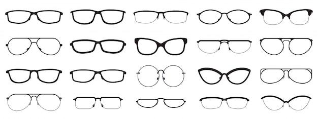 Montature per occhiali. sagome di occhiali, montature per occhiali, montature per lenti ottiche, occhiali hipster. icone dell'illustrazione di occhiali di ottica di modo messe. occhiali da vista hipster, lenti, montature per occhiali