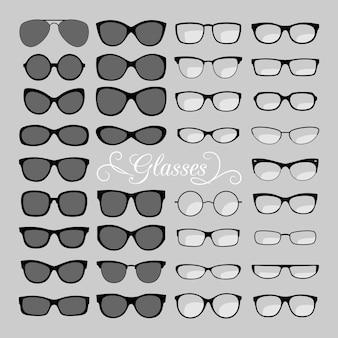 Set di icone di occhiali