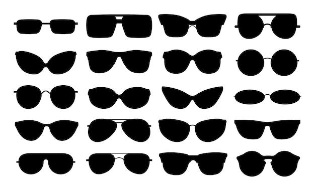 Sagome di occhiali. set di occhiali eleganti neri isolati. forme di occhiali in metallo plastica. icone di occhiali da sole geek. occhiali e occhiali da vista, illustrazione del telaio della siluetta degli occhiali di plastica