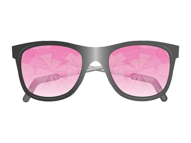 Occhiali con vetri rosa rotti. immagine isolata.