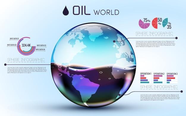 Bicchieri mondo olio sfondo infografico concetto