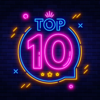 Insegna al neon scintillante nella top ten
