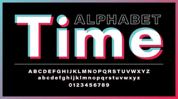 Alfabeto glitch carattere moderno dei social media