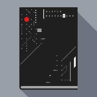 Modello di disegno di copertina / manifesto del libro glitch con elementi di disegno geometrico semplice.
