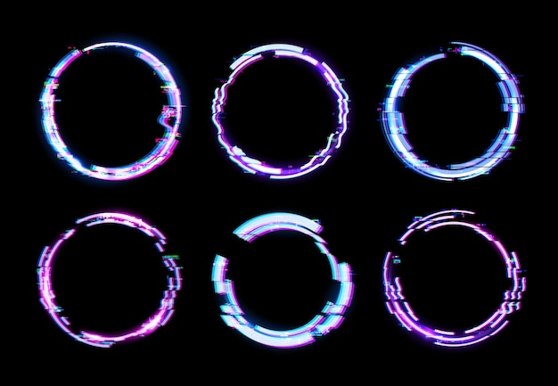 Cornici circolari glitch con bordi luminosi al neon ed effetti di rumore pixel digitali sullo schermo tv scuro