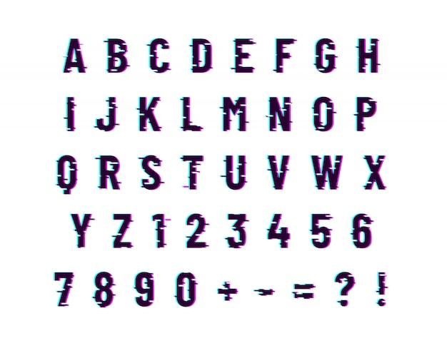 Carattere di distorsione del computer glitch, lettere latine su bianco