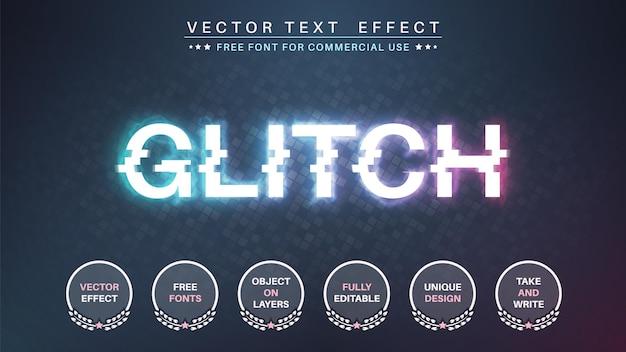 Stile del carattere dell'effetto di testo modificabile glitch