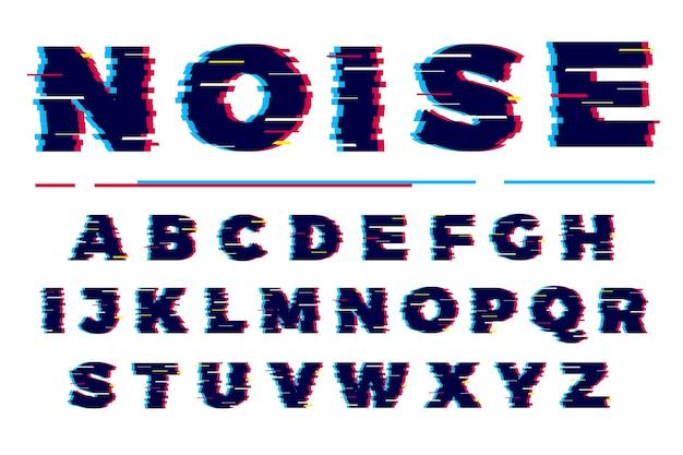 Carattere glitch. accumulazione di vettore di lettere militari di carattere tipografico graffiato futuristico.