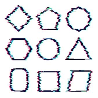 Fotogrammi glitch. gli effetti cyber rettangolari di distorsione hanno danneggiato le forme grafiche vettoriali di hipster dinamico quadrato. illustrazione distorsione quadrata, figura di cornice glitch