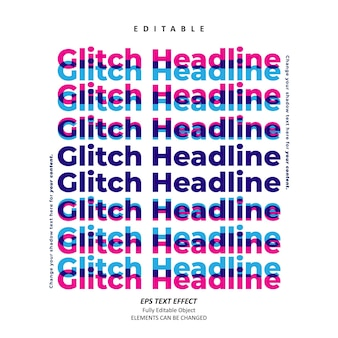 Vettore premium modificabile effetto testo impilato titolo glitch