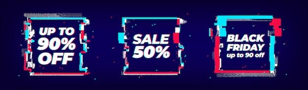 Set di banner vendita glitch, forme quadrate con effetto glitch. grande vendita cyber colorata astratta, modello venerdì nero per web, stampa, pubblicità.