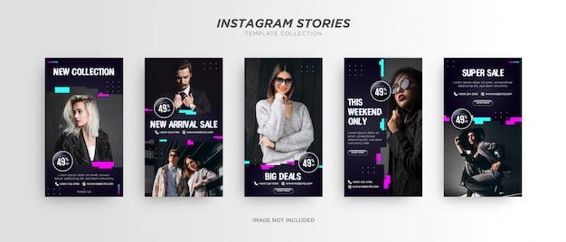Modello di storia di instagram di social media glitch