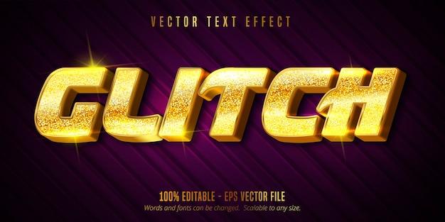 Testo glitch, effetto di testo modificabile di colore dorato di lusso su sfondo con texture