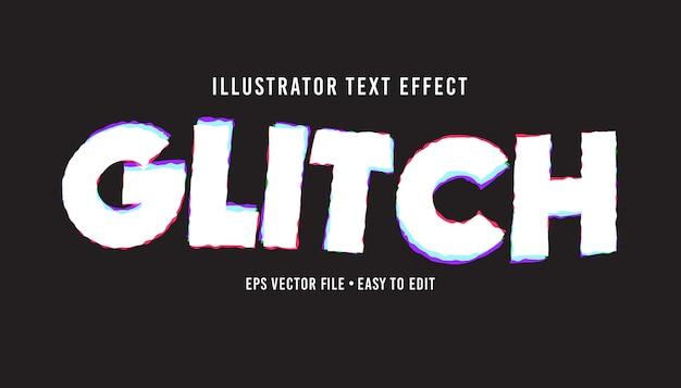 Effetto di testo modificabile stile testo eps vettoriale glitch