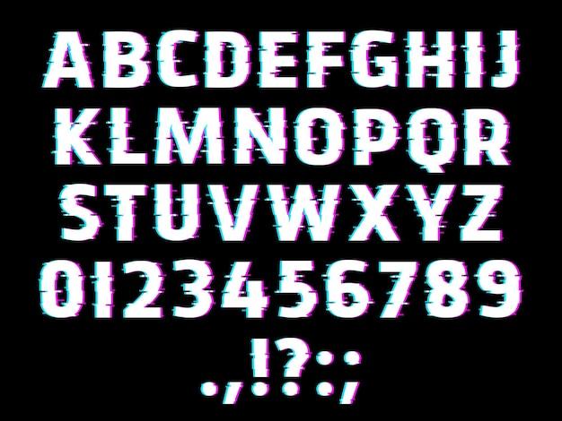 Carattere di tipo glitch, lettere dell'alfabeto incandescente, cifre ondulate e segni di punteggiatura isolati