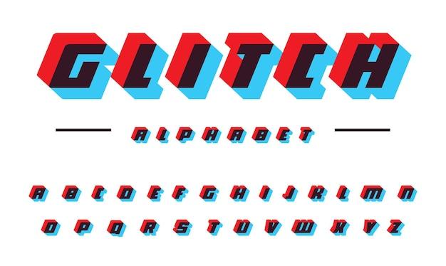 Glitch vettore alfabeto latino velocità in movimento grassetto corsivo applique lettere colore effetto offset